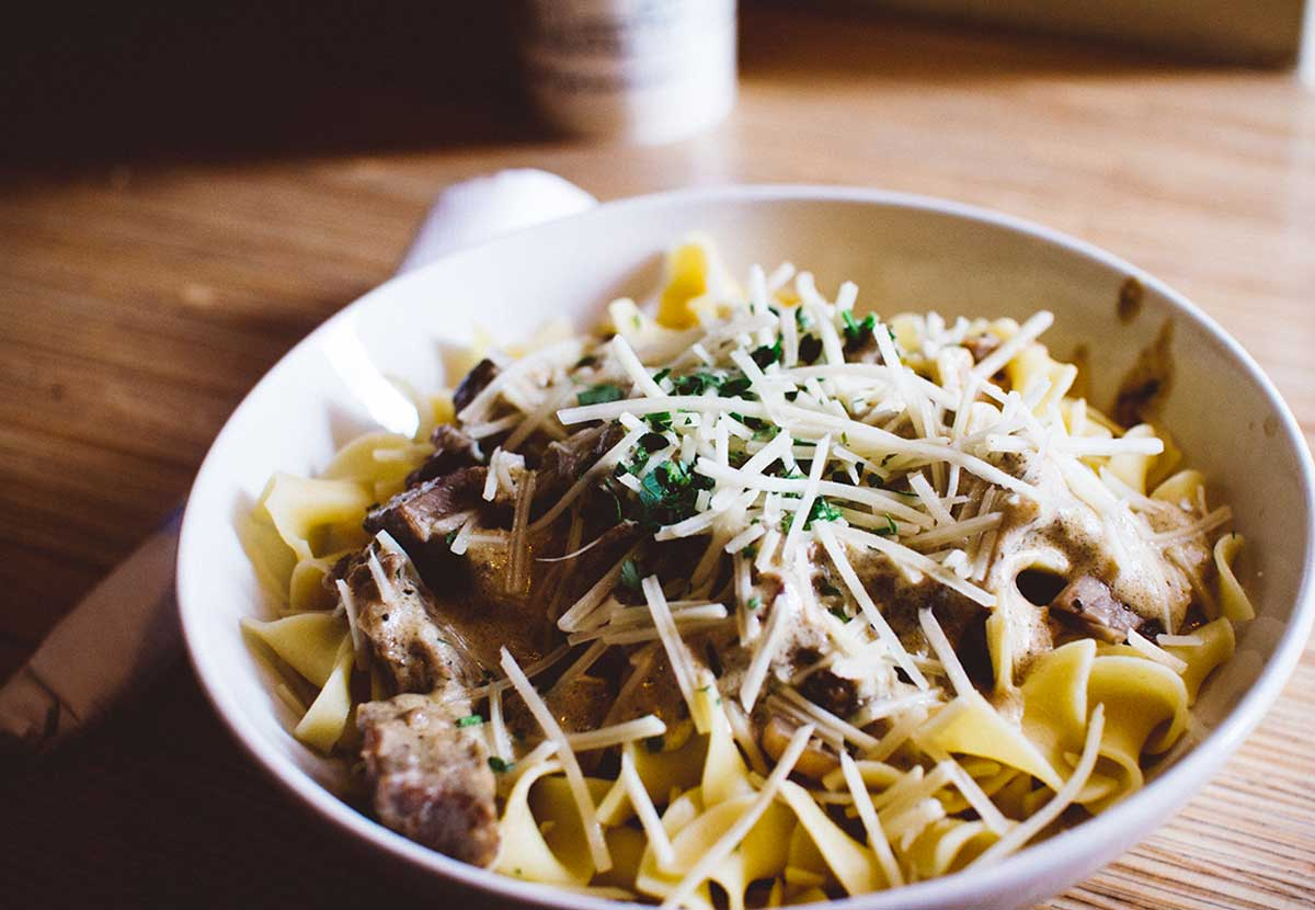 Italian famous pasta with meat and cheese
